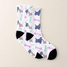 Scottish Terrier Puppy Bones Choose Color Socks - dog puppy dogs doggy pup hound love pet best friend