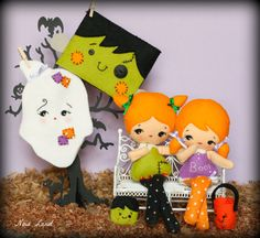 PDF. Halloween Franky and ghost dolls with masks and by Noialand