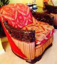 1900 Era Italian Baroque Curved Sofa, Tub Chair and matching ottoman completely restored! A Design Diva original by Wendy Wortham this set features hand loomed silk chenille designer heavy weight upholstery with a distinct silk contrast welting #texastwinstreasures #wendywortham