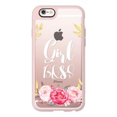 Girl Boss- Pink Flowers Gold Laurel Wreath - iPhone 6s Case,iPhone 6... (1.130 UYU) ❤ liked on Polyvore featuring accessories, tech accessories, iphone case, iphone cases, gold iphone case, iphone hard case, clear iphone case and flower iphone case