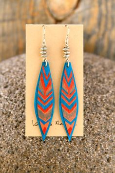 hand painted chevron feather birch wood and vintage metal earrings  by bootsravendesigns, $37.00