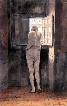 Goethe debruzado nunha ventá. Retrato feito en Roma (1787) por Johann Heinrich Wilhelm Tischbein durante a famosa viaxe a Italia.