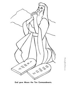 Moses, Ten Commandments, True worship is according to God's standards ~ free printable, Bible Coloring Sheets