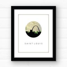 St. Louis, Missouri map art featuring the St. Louis skyline and a vintage St…