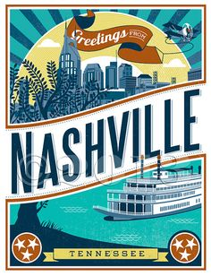Nashville Sky notecard set 10 cards and by LucieRicePrints on Etsy