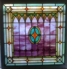 "Vintage Antique Jeweled Leaded Stained Glass Window Wood Frame Large 30""X30"" 
