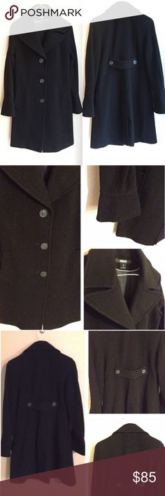 "🆕DKNY Classic Wool Cashmere Peacoat Black Authentic DKNY classic black peacoat. Super warm wool, nylon and cashmere blend. Fully lined. Features three large buttons on the front,  collared neckline and two slit pockets. Sleeves feature bell style wrist for an on-trend look. Excellent condition, selling for a friend who wore once. Size 8, approx 38"" long, 15"" shoulder-to-shoulder across back. ❌No trades❌Price firm unless bundled. DKNY Jackets & Coats Pea Coats"