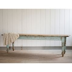 Vintage Farmhouse Table from Rachel Ashwell Shabby Chic Couture® Farmhouse Chic, Vintage Farmhouse, Farmhouse Table, Furniture Makeover, Diy Furniture, Old Benches, Shabby Chic Couture, Antique Chairs, Furniture Inspiration