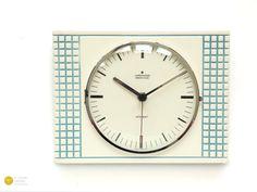 Mid century Modern JUNGHANS Ceramic Wall CLOCK - Panton Kitchen Op Art Atomic Space Age 70s mcm blue - Wanduhr