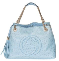8e1c9f9b7cb Gucci Soho Gg Chain Strap Blue Ostrich Leather Shoulder Bag 57% off retail
