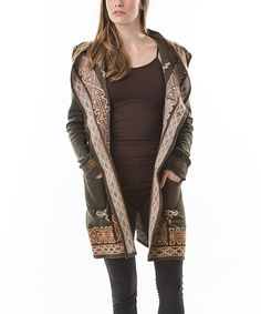 Look what I found on #zulily! Aziza Brown Embroidered Hooded Open Cardigan - Women by Aziza #zulilyfinds