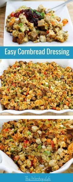 Try our easy cornbread dressing recipe this Thanksgiving. This simple stuffing recipe is delicious and made with cornbread! Try this Thanksgiving recipe- get the dressing recipe on the blog! #Thanksgiving #CornBread #Recipe #Holidays