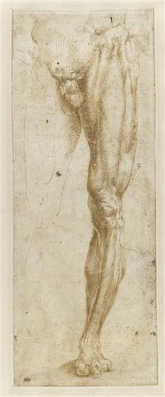 Michel-Ange TITLE:  Etude de la partie inférieure d'un homme nu PERIODS:  16th century, renaissance, 15th century TECHNIQUES:  pen (drawing), brown ink