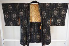 Kimono Dress Japan Vintage haori coat Geisha costume used silk 168_D07S10