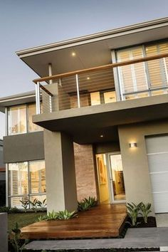 Diseño de casa moderna de dos pisos, fachada e interiores . Modern House Facades, Modern House Design, Style At Home, Modern Exterior, Exterior Design, Exterior Siding, Architecture Design, Facade House, Elegant Homes
