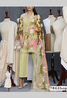 Light Green Lawn Suit | Buy Crimson Pakistani Dresses and Clothing online in USA, UK