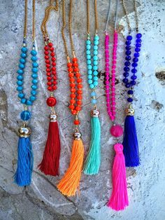 A personal favorite from my Etsy shop https://www.etsy.com/listing/252074688/unicolor-knots-tassel-necklace