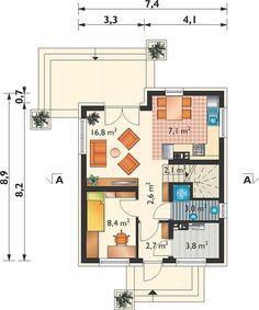 Projekt domu Eklerka - murowana – beton komórkowy 74,20 m² - koszt budowy - EXTRADOM 20 M2, Tiny House, Sweet Home, Floor Plans, Flooring, How To Plan, Homes, Houses, House Beautiful