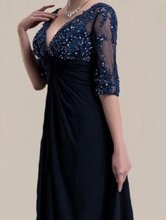 Modern Chiffon Bride Mother Dress with Sheer Sleeves Navy Prom Dresses, Dresses To Wear To A Wedding, Mob Dresses, Bridal Dresses, Bridesmaid Dresses, Dresses With Sleeves, Dresses Online, Mother Of The Bride Dresses Vintage, Mother Of Groom Dresses