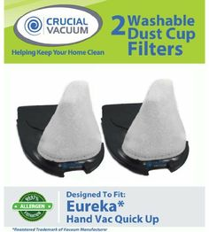 High Quality Replacement 2-Pack Quick Up Washable & Reusable Filter; Fits Eureka Quick Up Vacuum Cleaner Models: 61, 70, 71, 61A, 70A, 70AX, 71A, 71AV, 71B, AG61A, UK61A, Z61A; Compare to Eureka Dust Cup Vacuum Part # 39657 by Crucial Vacuum. $14.99. Designed & Engineered By Crucial Vacuum. Fits Eureka Quick Up Vacuum Cleaner Models: 61, 70, 71, 61A, 70A, 70AX, 71A, 71AV, 71B, AG61A, UK61A, Z61A. Absolutely Essential For Allergy Sufferers!. High Quality Washable & ...