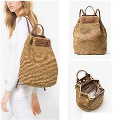 Michael Kors Krissy Straw Large Natural Leather Backpack off retail Crochet Backpack Pattern, Crochet Tote, Crochet Handbags, Crochet Purses, Drawstring Bag Diy, Basket Bag, Clutch, Leather Tassel, Handmade Bags