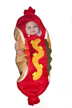 "Maris already has a hot dog costume . :) Hot Dog Bunting Halloween Costume - Infant Size Birth - 6 Months - Buyseasons - Toys ""R"" Us Cute Baby Halloween Costumes, Halloween Bebes, Toddler Costumes, First Halloween, Cute Costumes, Baby Costumes, Infant Halloween, Costume Ideas, Halloween Ideas"