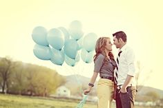 I think this would be a cute way to announce a new baby - color of balloons would tell the gender.