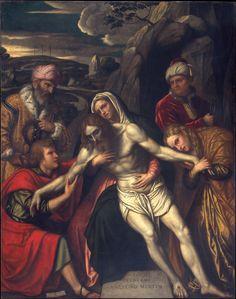 """""""The Entombment"""" Artist: Moretto da Brescia (Alessandro Bonvicino) (Italian, Brescia ca. 1498–1554 Brescia) Date: 1554 Medium: Oil on canvas Dimensions: 94 1/2 x 74 1/2 in. (240 x 189.2 cm) Classification: Paintings"""