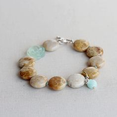 Fossil Coral Carved Flower Agate Beaded Bracelet Hand by TheGoosle