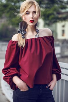 Off Shoulder Blouse, Flannel, Ruffle Blouse, Blouses, Street Style, Photo And Video, Womens Fashion, Model, Photography