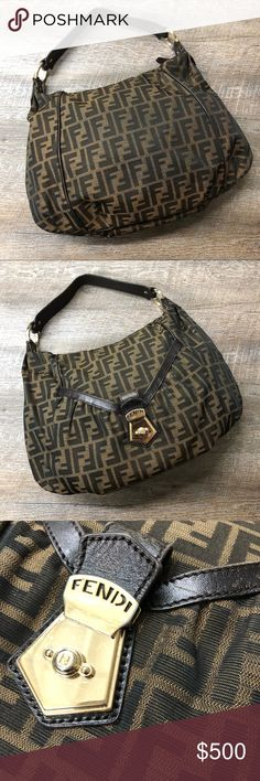 Authentic Fendi Shoulder Bag Authentic Fendi Brown Shoulder Bag with gold hardware. Some light wear on leather and hardware. Please see photos. Clean interior. Fendi Bags Shoulder Bags