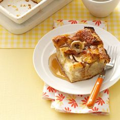 Banana French Toast Bake Recipe - make the night before.  Use challah instead of buns.