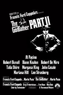 The Godfather Part II is a 1974 American epic crime film that Francis Ford Coppola produced, directed, and co-wrote with Mario Puzo, starring Al Pacino, Robert Duvall, Diane Keaton, and Robert De Niro. Partially based on Puzo's 1969 novel, The Godfather, the film is in part both a sequel and a prequel to The Godfather, presenting two parallel dramas.