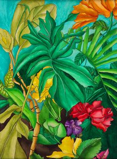 Fashion Addicts United: FAU Summer Trend Tropical Fever - Realty Worlds Tactical Gear Dark Art Relationship Goals Tropical Art, Tropical Garden, Tropical Flowers, Tropical Fabric, Tropical Forest, Jamaican Art, Oil Painting App, Caribbean Art, Plant Art