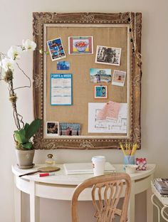 pin board from a fabulous picture frame - mini sized office
