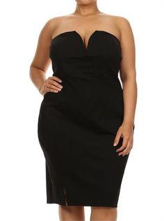 Plus Size Love Spell Plunging Neckline Black Dress – PLUSSIZEFIX