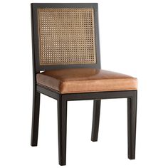 """The Redford House Oliver side chair introduces classic style to transitional interiors. A caned back and sleek frame support the furnishing's plush cushion for sophisticated appeal. 20""""W x 21.5""""D x 37""""H; Made from Pacific Northwest Alder wood; Shown in black with saddle brown leather; Available in several non-toxic finish and fabric options; Caning available painted or stained; Hand-finished; Natural imperfections in the finish offer unique texture; Color and texture may vary from piece to…"""