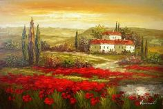 Flower Field Landscape Painting Italian Tuscany Red Poppy Field Hand Painted Art Wall Art Canvas Art Abstract Oil Painting (Unframed and Unstretched) Modern Oil Painting, Canvas Painting Landscape, Hand Painting Art, Large Painting, Oil Painting Abstract, Texture Painting, Landscape Art, Painting Canvas, Poppies Painting