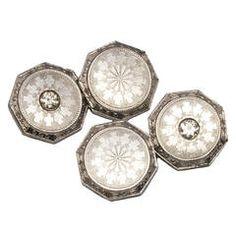 White Gold Platinum Cufflinks