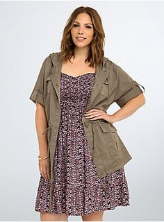 "<p>Sport this military-inspired anorak anywhere and everywhere (that's an order). Function meets fashion, the brown styel has a button front, commanding snap pockets and too-cool rolled up sleeves. An adjustable hoodie + an adjustable drawstring waist = you flaunting your figure.</p>  <p> </p>  <p><b>Model is 5'9.5"", size 1</b></p>  <ul> 	<li>Size 1 measures 31 1/2"" from shoulder</li> 	<li>Cotton</li> 	<li>Wash cold, dry low</li> 	<li>Imported plus size anorak</li> </ul..."