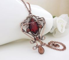 Wire wrapped Copper necklace Dark red by CreativityJewellery