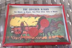 The Covered Wagon Dexterity Puzzle Game Made in USA Overall great shape for its age. Beautiful. Some minor paint wear on red metal border. Interior looks to be pretty good as well. Please see photos for best description and details.   eBay!
