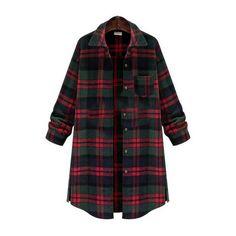SheIn(sheinside) Colour Lapel Plaid Pockets Shirt Coat (€24) ❤ liked on Polyvore featuring outerwear, coats, multi, tartan coat, plaid coat, lapel coat and short coat