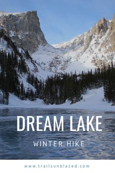 Dream Lake Winter Hike Dream Lake – An amazing day hike in Rocky Mountain National Park. Dream Lake Colorado, Colorado Winter, Colorado Hiking, Hiking Places, Hiking Trails, Hiking Guide, Backpacking Tips, National Park Posters, Us National Parks