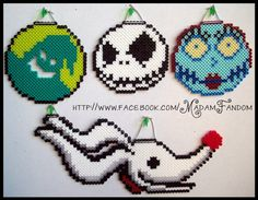 Nightmare before Christmas perler bead designs Perler Bead Designs, Melty Bead Designs, Perler Bead Disney, Perler Bead Art, Pearler Bead Patterns, Perler Patterns, Nightmare Before Christmas Ornaments, Christmas Perler Beads, Peler Beads