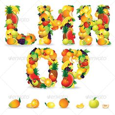 Colorful Letters from Fruits. Vector Clip Art  #GraphicRiver         Colorful Letters from Fruit and Berries. Vector Clip Art   - vector illustration with simple gradients   - vector graphics with CMYK colors for print   - zip file contains images: AI, CDR, EPS, JPG   Keywords: white, collage, orange, kiwi, isolated, energy, healthy, vitamin, group, apple, background, nutrition, health, border, juice, juicy, mixed, multi, market       MORE VECTOR FONTS…