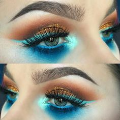 """""""Our Electric Blue eyeshadow put to #flawless use by the talented @alyssamarieartistry.  Tag us in your #cinemasecrets #makeup looks for a chance to be…"""" #creativemakeuplooks #flawlessmakeup"""