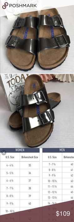 New Birkenstock Arizona Soft footbed Sandals 🌸🏝 DETAILS & CARE Size EU 39 US 8 N 🏖 Adjustable suede straps top an iconic cushioned sandal, designed to exercise foot and leg muscles while providing comfort. The cork and latex footbed absorbs shock and mimics the shape of a healthy foot, while pronounced medial and metatarsal arches support the instep. Contoured footbed with arch support. Metallic  Pewter Leather. and lining/EVA sole. By Birkenstock; made in Germany. New Sample without a…