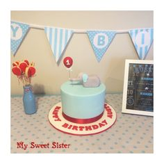 My Sweet Sister - elephant first birthday cake for Austin! Blue, red, bunting, fondant, fat daddios, satin ice, one, cake, chocolate, Melbourne