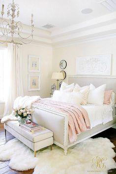 Glam Blush + Gold Spring Bedroom - Randi Garrett Design #masterbedroomideas White Bedroom Set, White Bedroom Design, Bedroom Sets, Home Decor Bedroom, Girls Bedroom, Bedroom Furniture, Diy Bedroom, Bedding Sets, Master Bedrooms